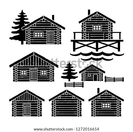 Wooden Log Cabin Vector
