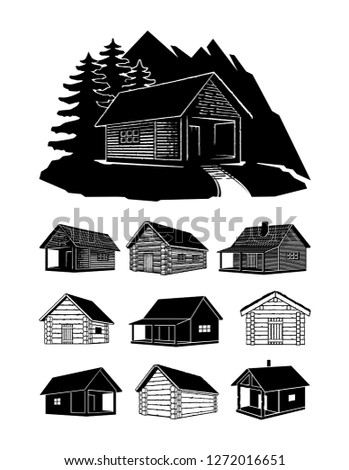 Wooden Log House Vector Set