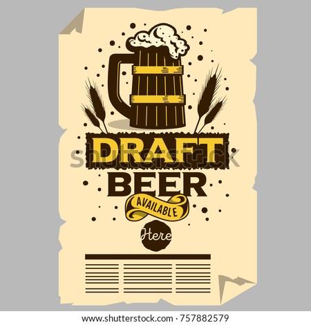 Wooden Mug Of Draft Beer Illustration Poster Flyer Design For Promotion For Restaurants Pubs Clubs. Vector Graphic.