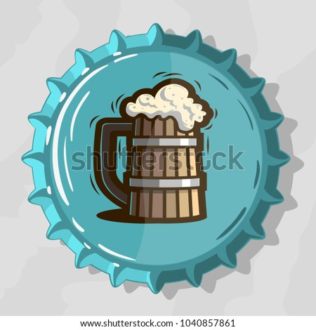 Wooden Mug Of Draft Beer With Foam On Top View Beer Bottle Cap. Vector Image.