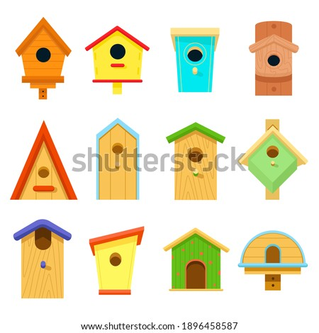 Wooden multi-colored birdhouses isolated on a white background. Birdhouse, bird feeder of various shapes. Set of icons. Crafts made of wood and nails. Nature protection. Cartoon. Vector illustration Stockfoto ©