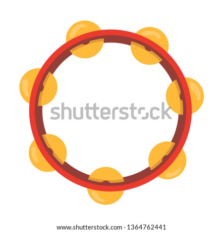 Wooden musical instrument percussion tambourine, with metal plates. Musical instrument for parties, concerts, events. Tambourine with a sonorous sound. Vector illustration isolated. Stock photo ©