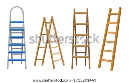 Wooden or Steel Step Ladders for Domestic and Construction Needs Vector Set Photo stock ©