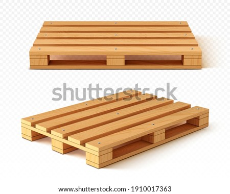 Wooden pallet front and angle view. Wood trays for cargo loading and transportation. Freight delivery, warehousing service equipment isolated on transparent background Realistic 3d vector illustration