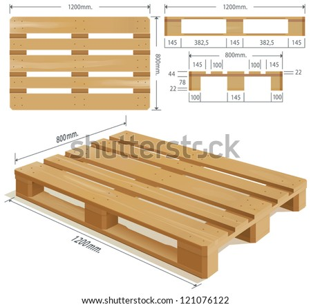 Wooden pallet in perspective, front and side view with dimensions.