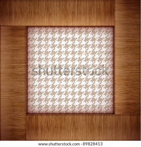 wooden photo frame with tablecloth background