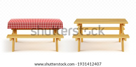 Wooden picnic table with benches and red plaid tablecloth isolated on transparent background. Vector realistic set of empty wood table with seats and cloth for garden, park or camping
