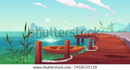Wooden pier and boat on river natural landscape, wharf with ropes and reed growing in water on picturesque lake background with mountains view. Cartoon vector illustration Foto d'archivio ©