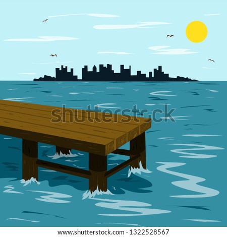 wooden pier in the sea and the