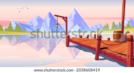 wooden pier on lake  pond or
