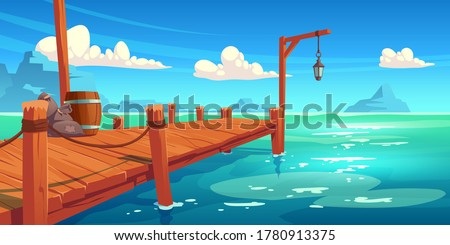 Wooden pier on river, lake or sea landscape, wharf with ropes, lantern, wood barrel and sacks on picturesque background with blue water, clouds in sky and mountains view. Cartoon vector illustration Stockfoto ©