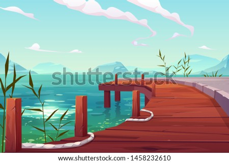 wooden pier on river natural