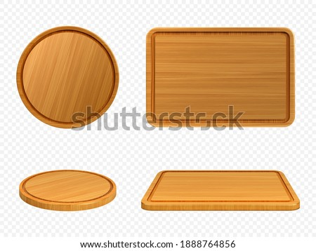 Wooden pizza and cutting boards top or front view. Trays of round and rectangular shapes, natural, eco-friendly kitchen utensils made of wood isolated on white background, realistic 3d vector set Foto stock ©