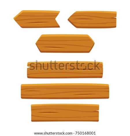 Wooden planks set, vector illustration isolated on white background. Cartoon wood texture for signs and arrows.