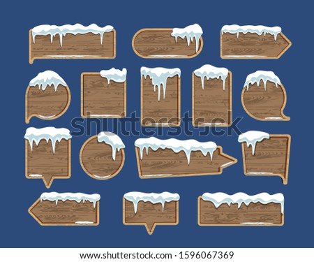 Wooden plates, pointers, signboards. Lying snow. Winter. The style is cartoon. Isolated set of plates. Vector illustration
