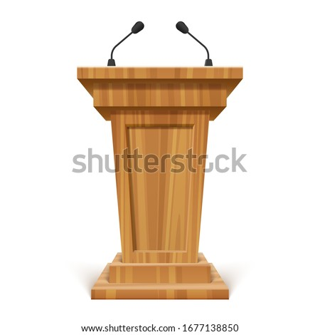 Wooden podium or pedestal with microphone, stand for speech or public pulpit for orator. Vector tribute for press conference or media, politics communication. Grandstand or 3d platform. Audience