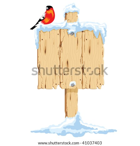 wooden pointer in the snow, it sits bullfinch. Vector.