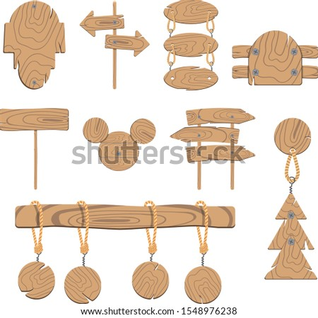 Wooden pointers. Wooden plaques and banner.