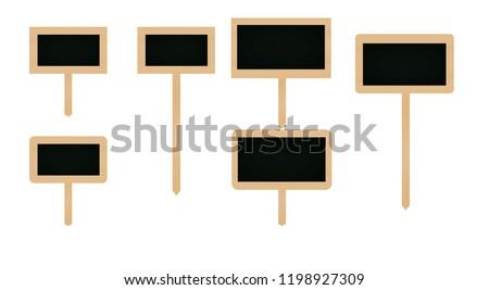 Wooden price notice set. vector illustration