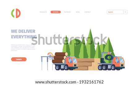 Wooden production. Business landing web page with forestry industry production pictures of lumber sawmill timbers garish vector template Foto stock ©