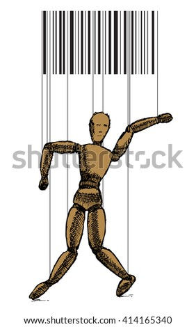 Wooden puppet with bar code on white background. Vector stock illustration