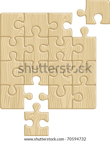 Wooden puzzle pattern (removable pieces). Vector illustration