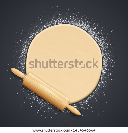 Wooden rolling pin and kneading dough with flour. Concept design for baking, pizza, cookie, biscuit, bread. Dark background. Eps10 vector illustration.