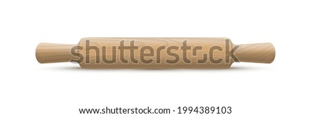 Wooden rolling pin isolted on white background. Vector realistic wood kitchen utensils design element Stock photo ©