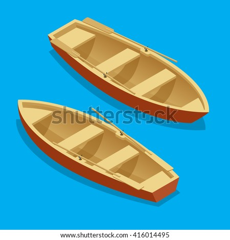 wooden rowing boat isolated