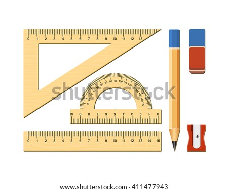 Wooden ruler instruments and school equipment.  Isolated on white background. Vector illustration.