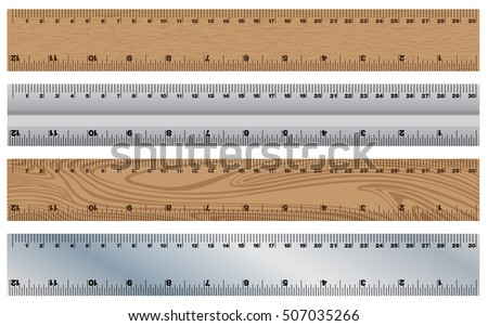 Wooden Ruler with Stainless Ruler. Instrument of Measurement on white background.