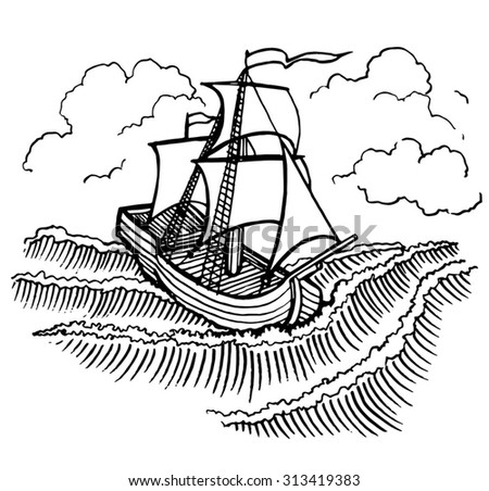 Wooden Sail Ship Under Strong Wind In The Sea