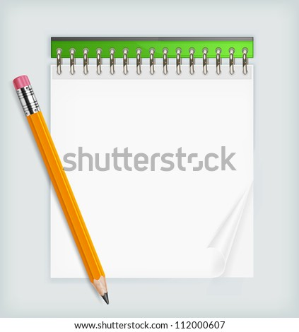 Wooden sharp pencil and notebook isolated, vector illustration