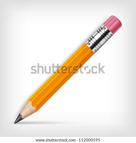 Wooden sharp pencil isolated on white background, vector illustration