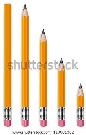 Wooden sharp pencils isolated on white background, vector illustration