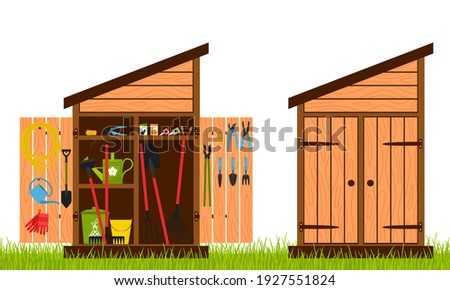 Wooden shed with closed and open doors. Gardening tools are stacked inside the shed and hung on the door. Equipment for growing plants. Vector illustration in a flat style 商業照片 ©