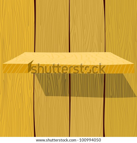 Wooden shelf. EPS10
