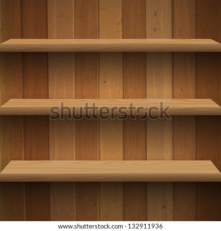 Wooden shelves. Vector eps10