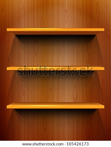 wooden shelves with place for
