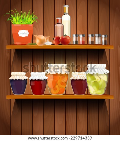 wooden shelves with the herbs