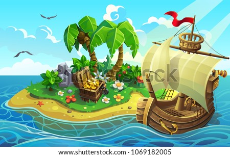 wooden ship near the tropical