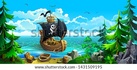 wooden ship with sails pirates