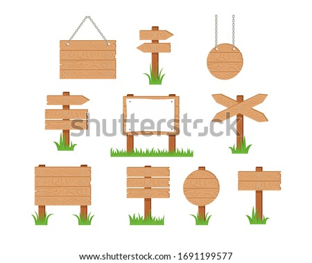 Wooden sign and pointer in green grass set. Vector cartoon old wood sign post, sign board with sheet of white paper, banners hanging on chains and arrow isolated on white. Simple flat illustration.