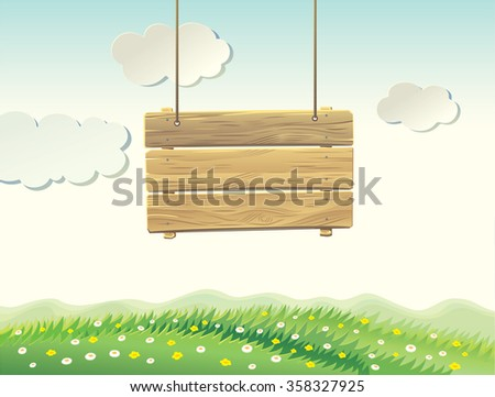 wooden sign board in summer