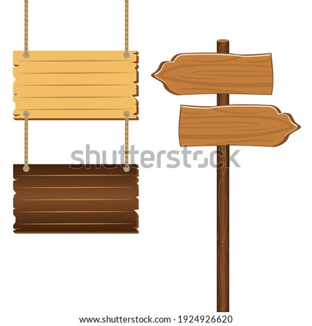Wooden sign boards blank empty planks or signboards.  Road sign, pointers for information, advertising. Arrow shapes empty wooden for message illustration vector Foto d'archivio ©