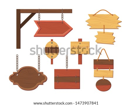 Wooden sign boards blank empty planks or signboards. Summer road sign, pointers for information, advertising. Round, square, arrow shapes empty wooden message illustration vector