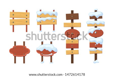 Wooden sign boards blank empty planks or signboards. Winter road sign, pointers for information, advertising. Round, square, arrow shapes empty wooden message for snow illustration vector