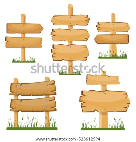 Wooden sign boards set. Vector cartoon wooden sign board on the grass
