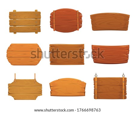 Wooden sign boards vector design of old wood plank signboards and timber panel banners with nails, hanging on ropes and chains. Blank cartoon plaques, billboards, signposts and pointers Сток-фото ©