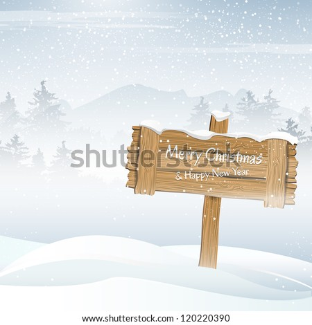wooden sign in a winter